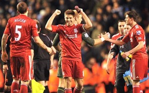 Gerrard celebrating Liverpool's Carling Cup triumph (Courtesy of The Telegraph)